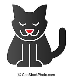 Cat flat icon. Creepy demon with tail, witch pet. Halloween party vector design concept, gradient style pictogram on white background.