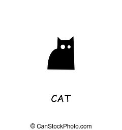 Cat flat vector icon