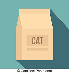 Cat food bag icon, flat style