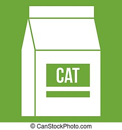 Cat food bag icon green