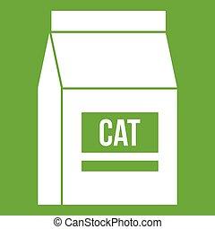 Cat food bag icon green