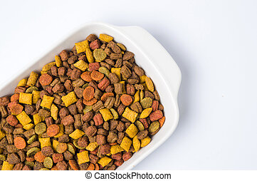 Cat food granule in a bowl