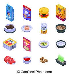 Cat food icons set, isometric style