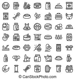 Cat food icons set, outline style