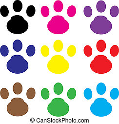 cat footprint in a variety of colors