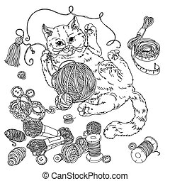 cat for needlework - kitten playing with a ball of yarn and ...