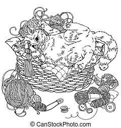 cat for needlework - uncolored kitten playing with ...