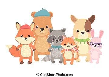 Cat fox raccoon bear dog and rabbit design