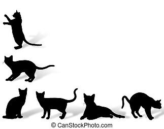 Cat frame - Illustration about funny cats silhouette in...