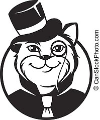 Cat gentleman - Black and white vector icon gentleman cat