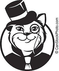 Cat gentleman - Black and white vector icon gentleman cat