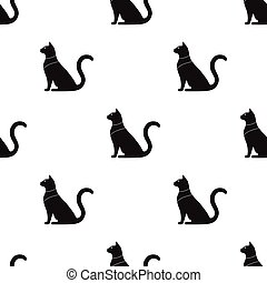 Cat goddess Bastet icon in black style isolated on white background. Ancient Egypt pattern stock vector illustration.