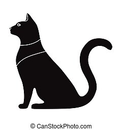 Cat goddess Bastet icon in black style isolated on white background. Ancient Egypt symbol stock vector illustration.