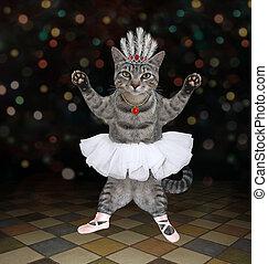 Cat gray ballet dancer in diadem 2