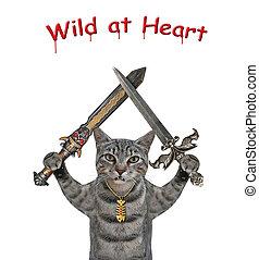 Cat gray holds crossed swords 2