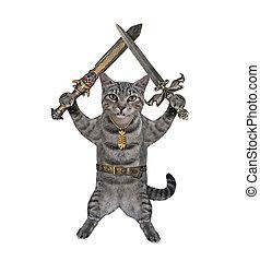 Cat gray holds crossed swords 3