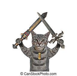 Cat gray holds crossed swords