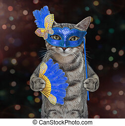 Cat gray in blue carnival mask 2