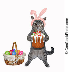 Cat gray stands with easter cake