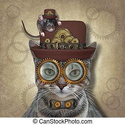 Cat gray steampunk in glasses 2