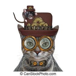 Cat gray steampunk in glasses