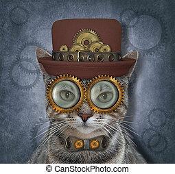 Cat gray steampunk in metal bow tie 3