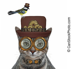 Cat gray steampunk in metal bow tie