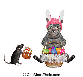 Cat gray with basket of colored eggs 2