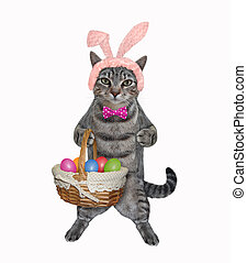 Cat gray with basket of easter eggs