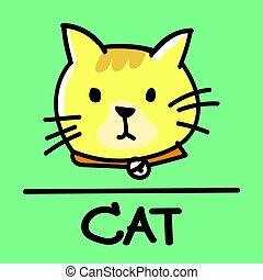 cat hand-drawn style, Vector illustration.