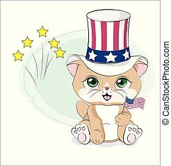 cat happy Independence Day America