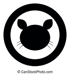 Cat head  icon black color in circle