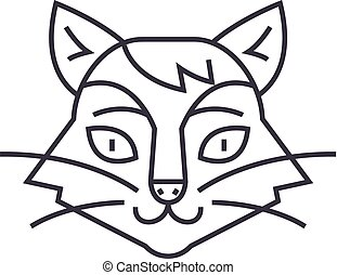 cat head vector line icon, sign, illustration on background, editable strokes