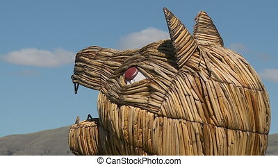 Cat-Headed Craft On A Reed Boat, Uros Island, Peru - Extreme...