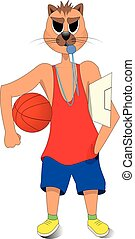 cat holding a basketball in his hand. a basketball coach. cartoon character.