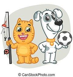 Cat Holding Big Fish Dog Holding Soccer Ball