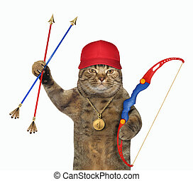 Cat holding bow and arrows 2
