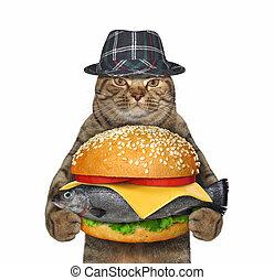 Cat holding fresh fish burger 2