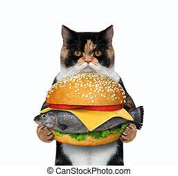 Cat holding fresh fish burger 3