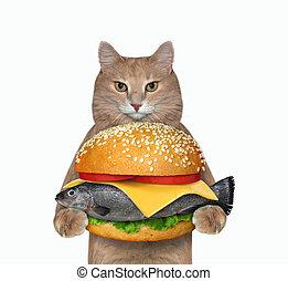 Cat holding fresh fish burger 4