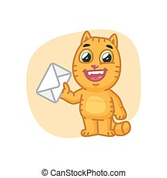 Cat Holding Letter and Laughs - Vector Illustration, Cat...