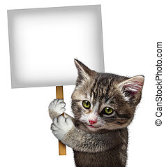 Cat Holding Sign - Cat holding a blank card sign as a cute...