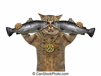 Cat holding two fish 2