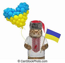 Cat holding ukrainian flag 2