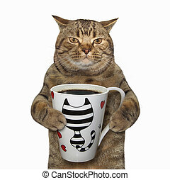 Cat holds a cup with coffee