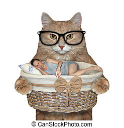 Cat holds basket with sleeping man 2