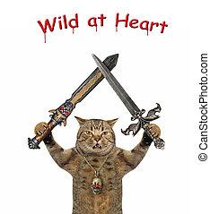 Cat holds crossed swords 2