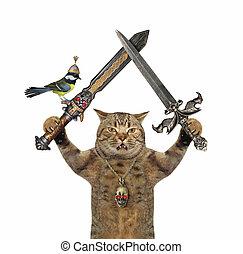 Cat holds crossed swords