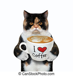 Cat holds cup of coffee with text 2
