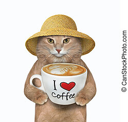 Cat holds cup of coffee with text 3